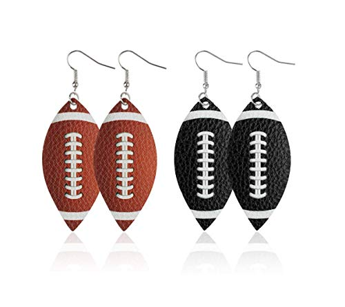 Astra Gourmet 2 Pairs Rugby Faux Leather Teardrop Earrings for Sport Lover Lightweight Faux Leather Teardrop Earrings Handmade Unique Ball Leather Earrings for Women Girls(Brown&Black)