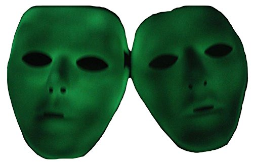 GZTB 2pcs Halloween PVC Luminous Mask, Funny Creepy Plastic PVC Green Luminous Mask Fancy Dress Props for Halloween Party and Night Driving ()