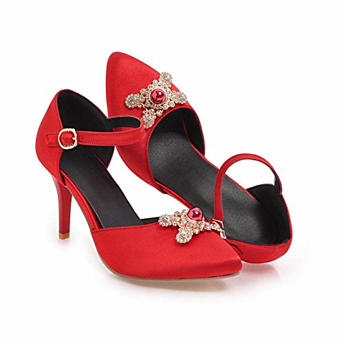 Sexy Dress Heel Carolbar High Elegant Women's Rhinestones Shoes Stiletto Red qgUv0ET