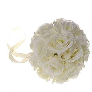 SL crafts Fabric Ivory Rose Flower Kissing Ball Wedding Flower Decorations 8-inch 15