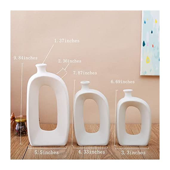 Anding White Ceramic Vase - 3 Set Vases. Matte Design - Modern Vase Decoration. Perfect Home Decoration Vase (LY688set) - SIZE;Large; 9.84 inches high, 5.5 inches wide, medium; 7.87 inches tall, wide; 4.33 inches, small; 6.69 inches high and 3.3 inches wide. Material: 100% ceramic material, handmade Production method: hand-made by old craftsman, white ceramic vase matte design - vases, kitchen-dining-room-decor, kitchen-dining-room - 41UOGP34C3L. SS570  -