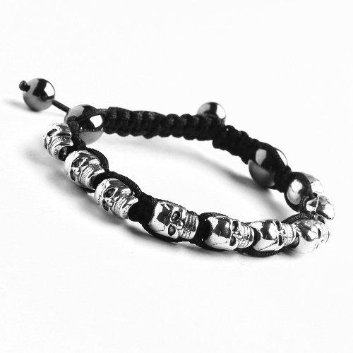 MEIYSH Skull Head Charm Beaded Cord Handcrafted Bracelet