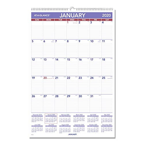 "AT-A-GLANCE 2020 Monthly Wall Calendar, 20"" x 30"", XLarge, Wirebound (PM428)"