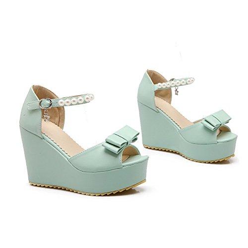 Amoonyfashion Kvinna Peep Toe Höga Klackar Mjukt Material Fast Spänne Sandaler Grönt