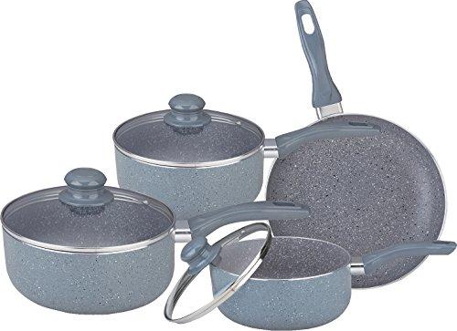 7PC MARBLE COATED ALUMINIUM NON STICK COOKWARE SET FRYING PAN SAUCEPAN...