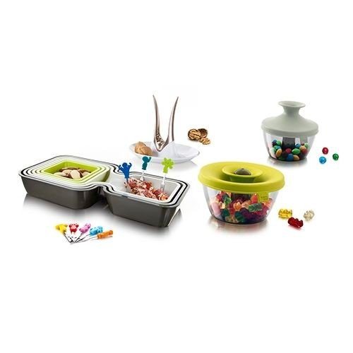 Party Geschenk Set / VacuVin / Partyschalen / Servierschalen / Snackschalen / Nussknacker / Popsome / Snack Marker / 19-teiliges Set