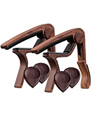 TimbreGear Rosewood Color Guitar Capo REAL WOOD PICKS INCLUDED (2) Set For Acoustic Guitar, Electric Guitar Quick Change For Easy Transpose
