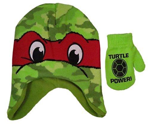 Nickelodeon 'Teenage Mutant Ninja TMNT Turtles Boys' Raphael Scandinavian Winter Hat and Mitten Set - Size Toddler
