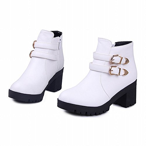 Carolbar Womens Buckles Zipper Fashion Leopard Pattern Lining Chunky Mid Heel Short Boots White W5KzJ