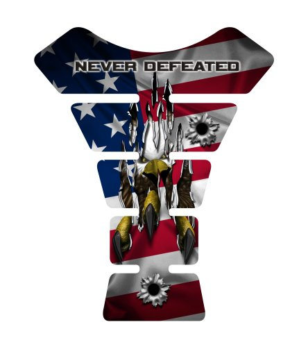 Motorcycle sportbike USA flag never defeated 3d gel Tank Pad tankpad protector ()