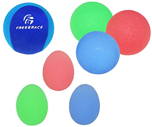 Freegrace Hand Grip Strengthening Stress Relief Squeeze Balls/Squishy Ball Bundle - Hand Exercise & Therapy Set - Great for Kids, Adults & Elders - Physical Rehabilitation (3 Eggs + 4 Balls)