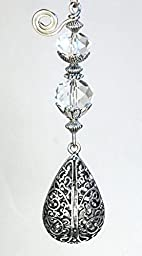 Silver Filigree Urn Shape Teardrop & Faceted Iridescent Clear Glass Ceiling Fan Pull Chain