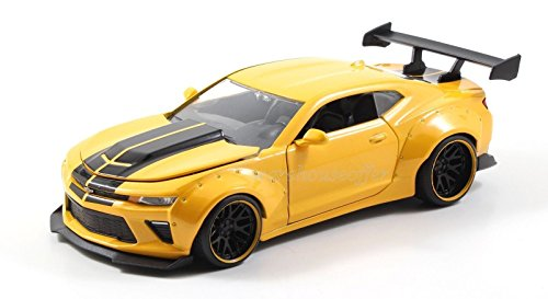 NEW 1:24 DISPLAY JADA TOYS BIG TIME MUSCLE - YELLOW 2016 CHEVROLET CAMARO SS WIDE BODY WITH GT WING Diecast Model Car By Jada Toys (WITHOUT RETAIL - Body Wing Wide