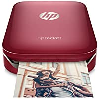 HP Sprocket Portable Photo Printer, Red and Extra Pack of HP(R) Zink Sticker Photo Paper, 20 sheets