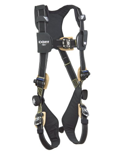 3M DBI-SALA ExoFit NEX 1103087 Nomex/Kevlar Full Body Harness, PVC Coated Alum Back D-Ring, Comfort Padding, Locking Quick Connect Buckle Leg Straps, Large, Black