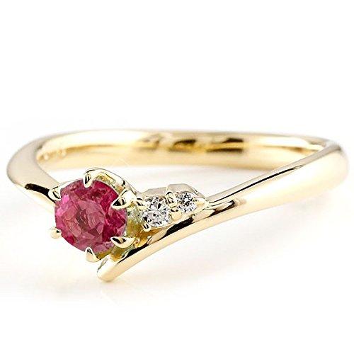 [アトラス] Atrus リング エンゲージリング イエローゴールド 18金 指輪 ルビー ダイヤモンド 一粒 大粒 天然石 誕生石のエンゲージリング (7月の誕生石ルビー) ファッションリング 13号 B013HKBWEW