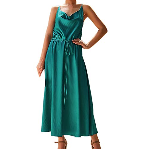 (kemilove Summer Women Fashion Sexy Sleeveless Bohemia Pure Color Camisole V-Neck Dress with Belt Green )
