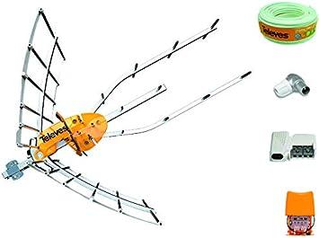 Kit Creado por TECNOVOZ de la Marca Antena TELEVES HD 148922 (Corte 700 MHz ch 21-48) con Amplificador 561621+ Fuente de Alimentacion para el Previo ...