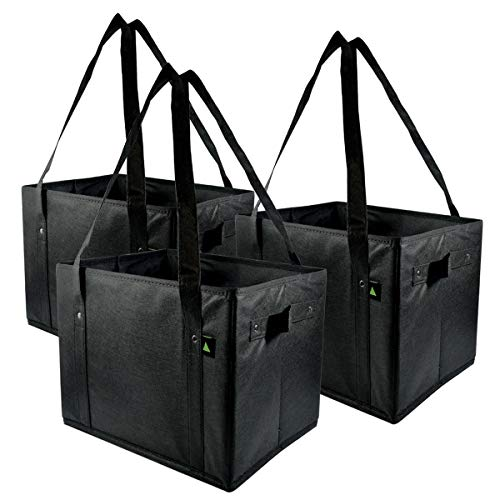 Prime Line Packaging 14.5x10x10 3 Pcs. Reusable Grocery Box Bags Extra Large & Super Strong, Collapsible Grocery Bags, Grocery Box Bags with Handles, Storage Box - Rigid & Foldable