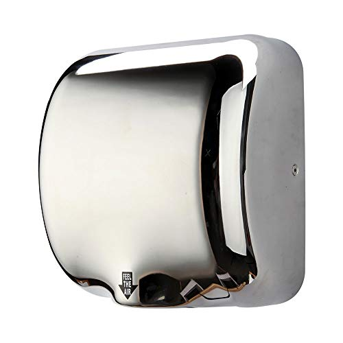 (Commercial Bathroom Hand Dryer, Polished Stainless Steel Shell, Powerful 1800W - Dry Hands in 7s, Low Noise 60 dB, Set of 1)