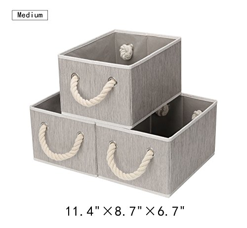 StorageWorks Polyester Storage Box with Strong Cotton Rope Handle, Foldable Basket Organizer Bin, Gray, Bamboo Style, Medium, 3-Pack