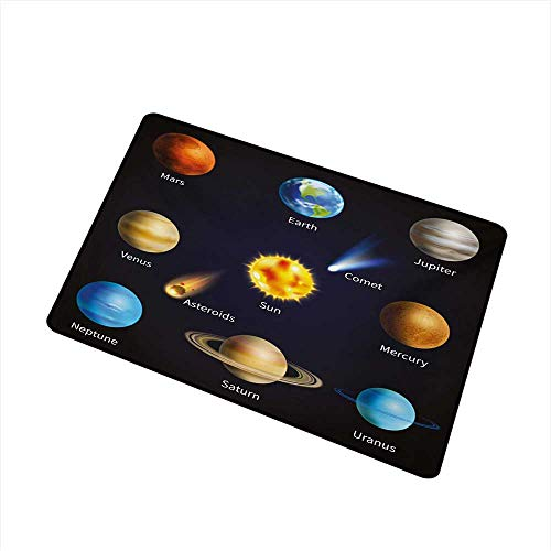 Becky W Carr Educational Commercial Grade Entrance mat Realistic Solar System Planets and Space Objects Asteroids Comet Universe Space for entrances, garages, patios W19.7 x L31.5 Inch,Multicolor