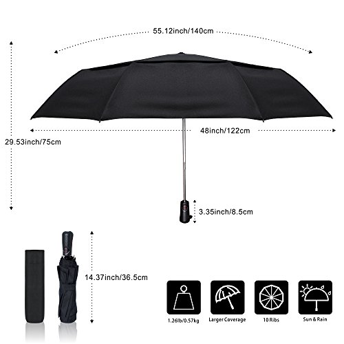 Unbreakable Auto Open and Close for Men and Women Drops Rain Colorful Glass Compact Travel Umbrella Windproof