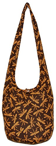 Dragonfly Bohemian Hipster Hobo Boho Hippie Crossbody Shoulder Bag Purse 39'' (Brown) by All Best Thing