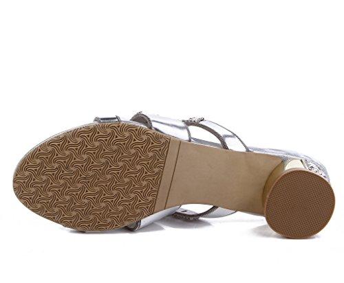 Zapatos Con Mujer Meijili Plateado Tacón dvZfZqH