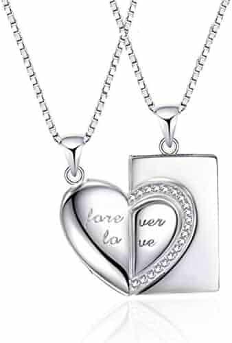 f0526521de ANAZOZ 2PC/Set Heart Couple Lover Pendant Necklace S925 Sterling Silver  Puzzle Heart Matching Necklace