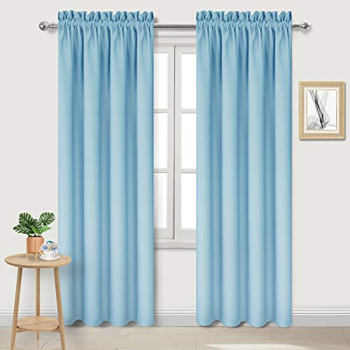 DWCN Blackout Curtains for Bedroom - Thermal Insulated Room Darkening Drapes for Living Room, Light Blue, W 42 x L 84 Inch, Set of 2 Rod Pocket Curtain Panels (Grey And Blue Curtain Panels)