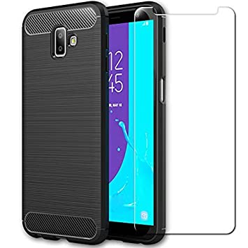 buy popular 518a9 dab5e AILRINNI Samsung Galaxy J6 Plus Case, Carbon Fiber Silicone Shockproof  Bumper Phone Case with Tempered Glass Screen Protector Design for Samsung  ...