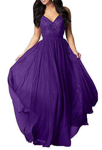 Brau Abendkleider Spitze V Chiffon Partykleider Lang Linie Abschlussballkleider Ausschnitt La Lila mia Brautmutterkleider A Tw0xqaq5