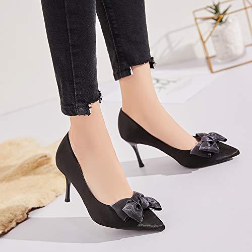 HRCxue Pumps Damenfeinspitze mit mit mit Spitzen Schleifen, einzelnen Schuhen, Wilden Damenschuhen, 37, schwarz (Höhe  7 cm) 174691