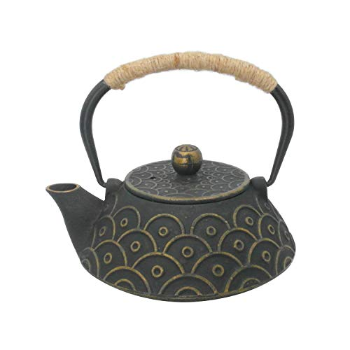 InnoLife Cast Retro Classic Iron Teapot Kettle With Stainless Steel Infuser 900ml/30oz(Fish scale) (Tea Kettle Fish)
