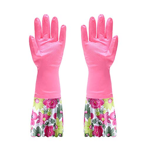 FireBee Rubber Cleaning Gloves Thick Waterproof Kitchen Dishwashing Gloves with Lining Household Latex Gloves (1 Pair,Pink Red)