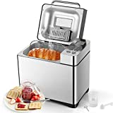 Automatic Bread Maker, Aicok 2.2LB Fully Stainless Steel Professional Bread Machine with Dispenser (19 Programs, 3 Loaf Sizes, 3 Crust Colors, 15-Hour Delay Timer, 1H Keep Warm, Gluten Free Setting)