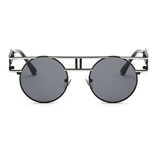 G&T Retro Vintage Style Gothic Steampunk Metal Frame UV Reflective - Hepburn Sunglasses Audrey Wearing