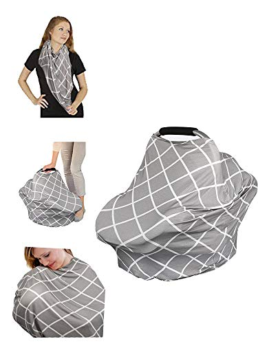 HOMMINI Nursing Cover for Breastfeeding Mommies Cover 360° Full Privacy Carseat Canopy for Baby Infant-Gray Square Pattern. Multi-Use as Scarf, or Light Blanket Stroller Cover