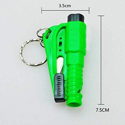 Fashionlook Portable 3 in 1 Sicurezza Martello salvavita salvadanaio Portachiavi Auto Window Breaker-Random-1 Size
