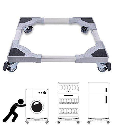 Refrigerator Roller - 360 Degree Casters Mobile Stainless Steel Movable Base Frame Refrigerator Wheel Bracket Base Stand/Dolly/Roller For Washing Machine/Dryer/Refrigerator/Cabinet