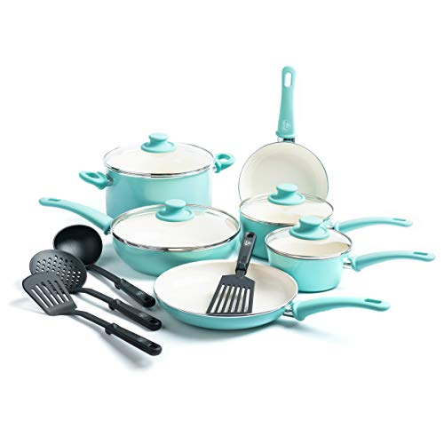 GreenLife Soft Grip Healthy Ceramic Nonstick, Cookware Pots and Pans Set, 14 Piece, Turquoise