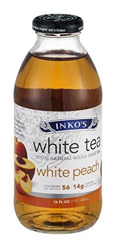 k White Peach White Tea, 16 oz Bottle, 12 per Carton (Inkos White Tea)