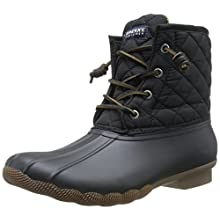 Sperry Top-Sider Women's Salwater Quilted Nylon Blk Rain Boot, Black, 10 M US