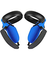 Esimen Touch Controller Grip Cover for Oculus Quest/Rift S Wrist Strap Anti-Throw Handle Protective Sleeve Suit (Blue Cover+Strap)