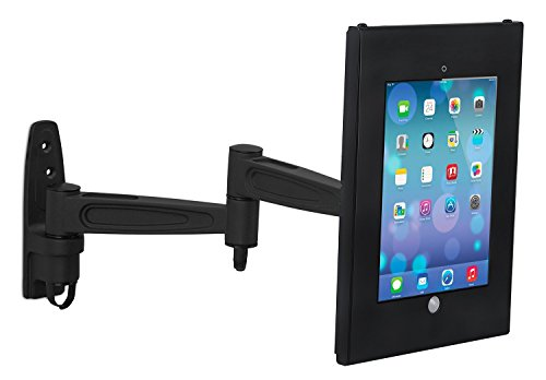 Mount-It! Articulating Tablet Holder Wall Mount iPad POS Kiosk, Anti-Theft, Anti-Tamper, Lockable Enclosure (Through Mount Wall Feed)