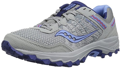 Country Walking Shoe - Saucony Women's Excursion TR12 Sneaker, Grey/Blue, 10.5 M US