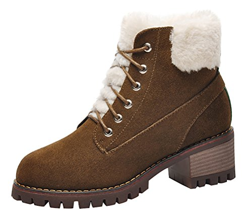 90s Inspired Costumes (T&Mates Womens Stylish Lace-Up Platform Chunky Heel Short Fur Lining Suede Martin Boots (6 B(M)US,Khaki))