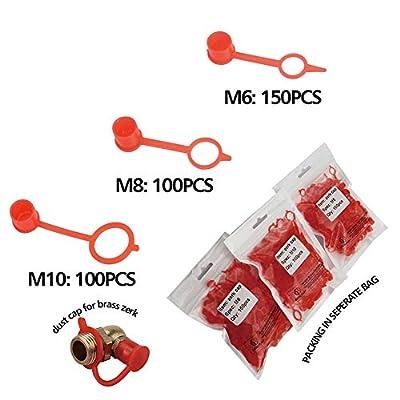 Boeray 350pcs M6 M8 M10 Red Polyethylene Plastic Dust Cover Cap Cover Assortment Kits for Oil Grease Gun Zerk Fitting: Home Improvement