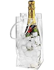 Outdoor Wine Beer Ice Bag Cooler PVC Leakproof Ice Bag Transparent Ice Pack Portable Ice Bucket Wine Cooler Bag Champagne Bottle Chiller with Carry Handle